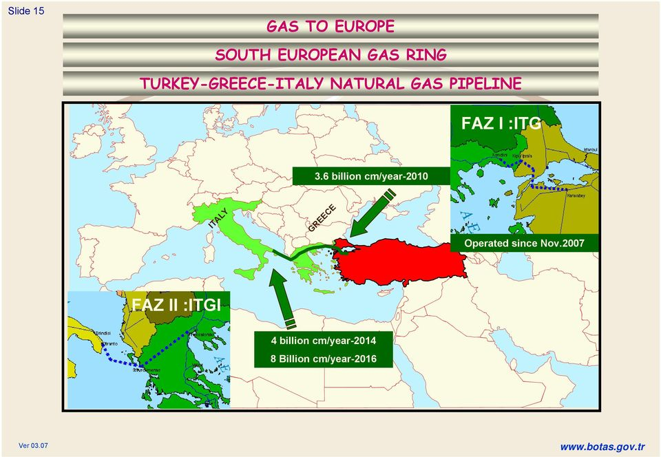 6 billion cm/year-2010 ITALY GREECE Operated since Nov.