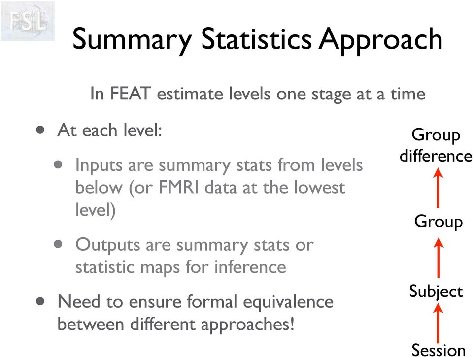 level) Outputs are summary stats or statistic maps for inference Need to ensure