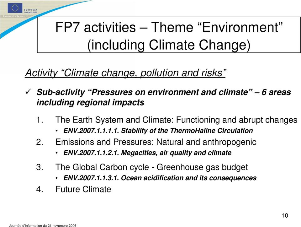 Emissions and Pressures: Natural and anthropogenic ENV.2007.1.1.2.1. Megacities, air quality and climate 3.