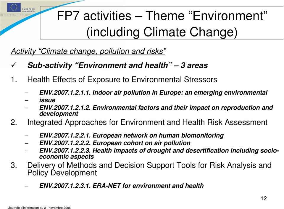 Integrated Approaches for Environment and Health Risk Assessment ENV.2007.1.2.2.1. European network on human biomonitoring ENV.2007.1.2.2.2. European cohort on air pollution ENV.2007.1.2.2.3.