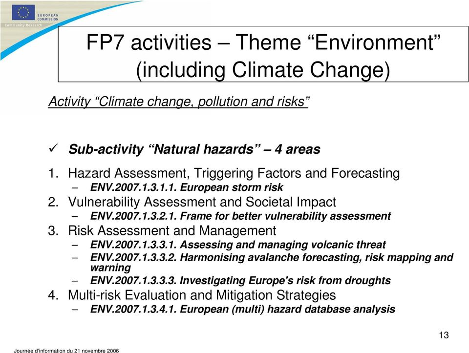 Risk Assessment and Management ENV.2007.1.3.3.1. Assessing and managing volcanic threat ENV.2007.1.3.3.2. Harmonising avalanche forecasting, risk mapping and warning ENV.