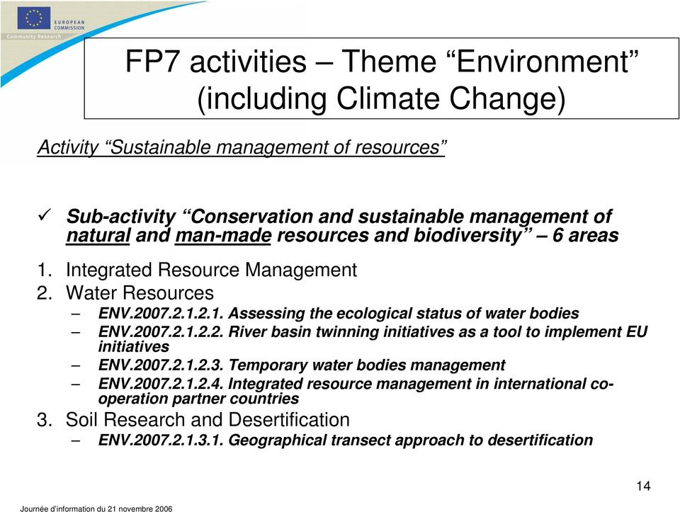 2007.2.1.2.2. River basin twinning initiatives as a tool to implement EU initiatives ENV.2007.2.1.2.3. Temporary water bodies management ENV.2007.2.1.2.4.