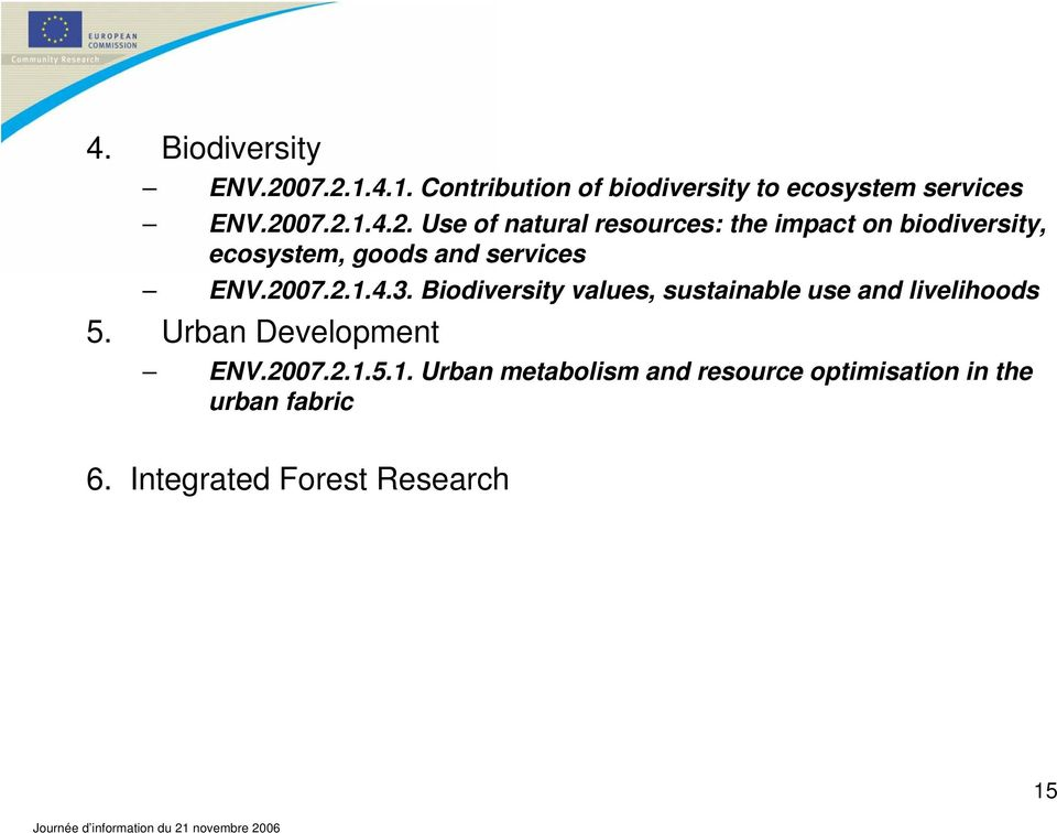 2007.2.1.4.3. Biodiversity values, sustainable use and livelihoods 5. Urban Development ENV.2007.2.1.5.1. Urban metabolism and resource optimisation in the urban fabric 6.