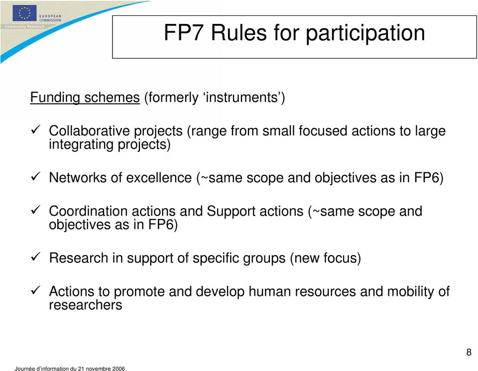 in FP6) Coordination actions and Support actions (~same scope and objectives as in FP6) Research in
