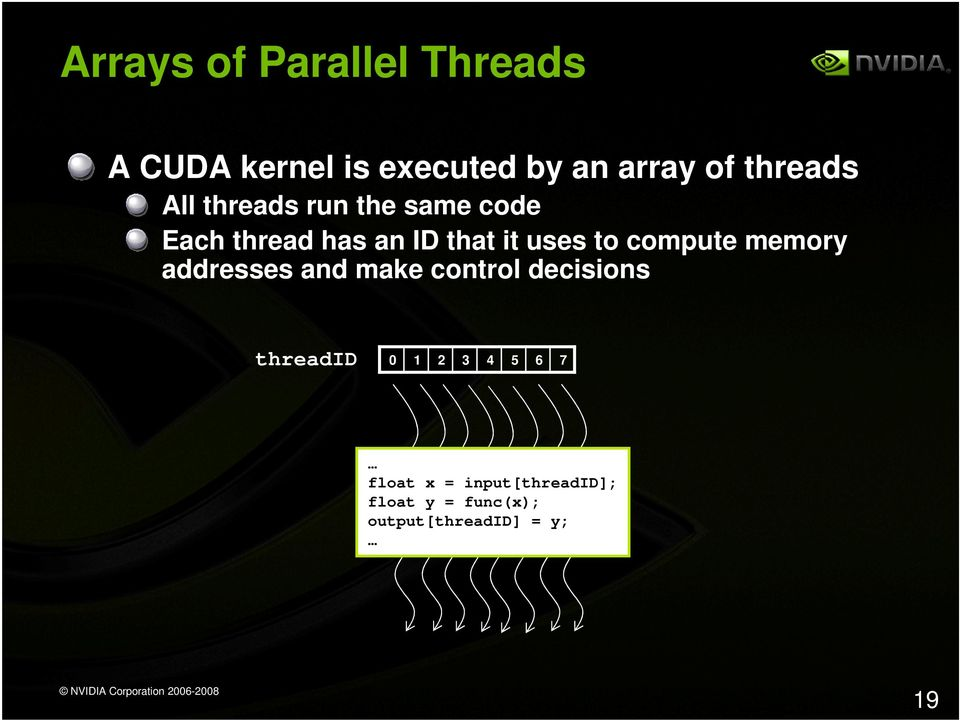 compute memory addresses and make control decisions threadid 0 1 2 3 4