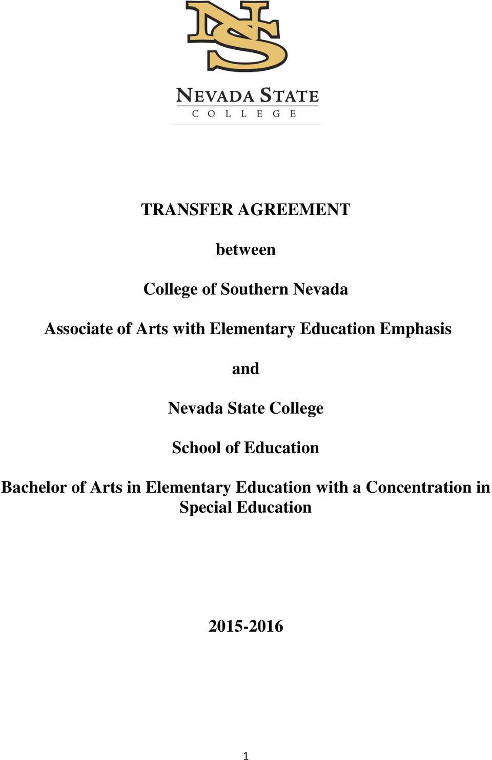 Nevada State College School of Education Bachelor of Arts in