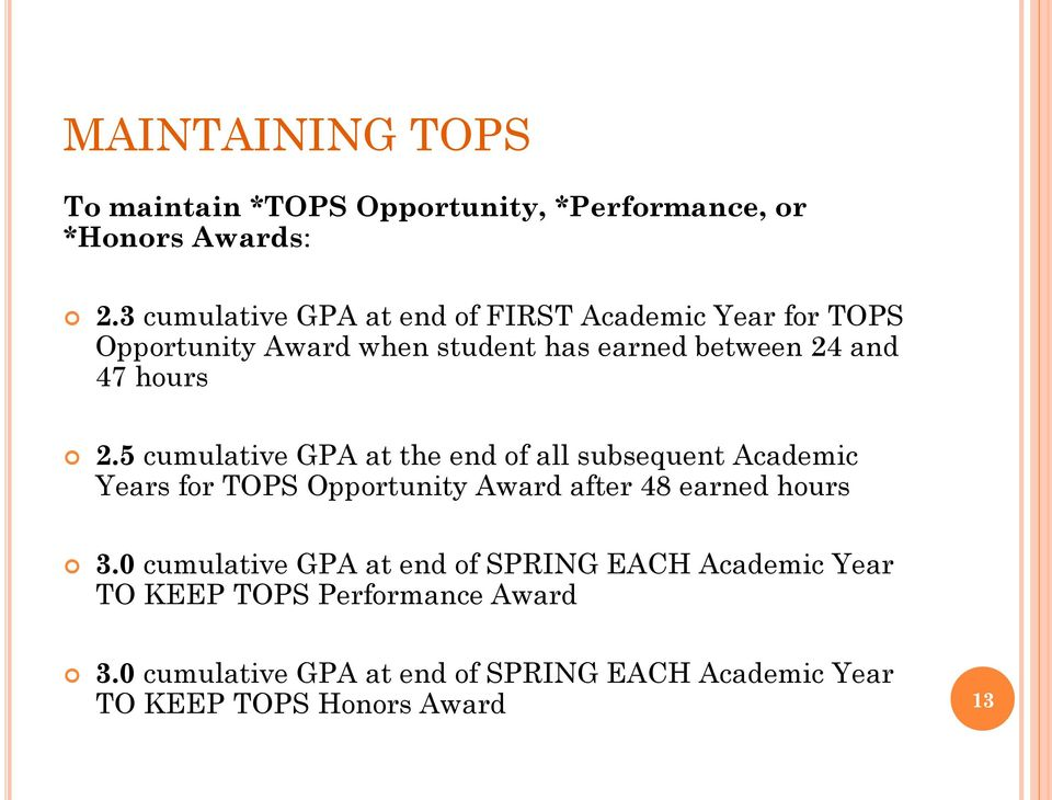 2.5 cumulative GPA at the end of all subsequent Academic Years for TOPS Opportunity Award after 48 earned hours 3.