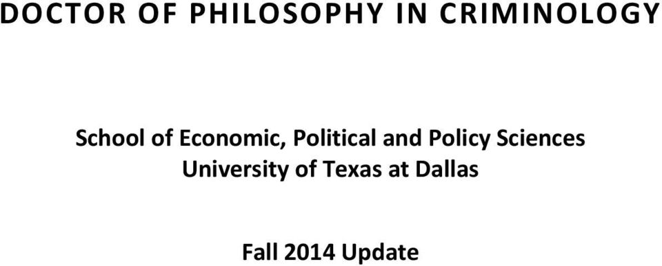 Political and Policy Sciences