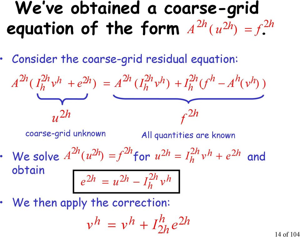 ) + ( ( ) ) u f coarse-grid unknown All quantities are known We solve A ( u