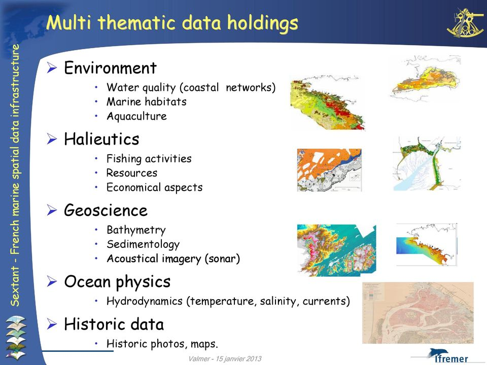 aspects Geoscience Bathymetry Sedimentology Acoustical imagery (sonar) Ocean