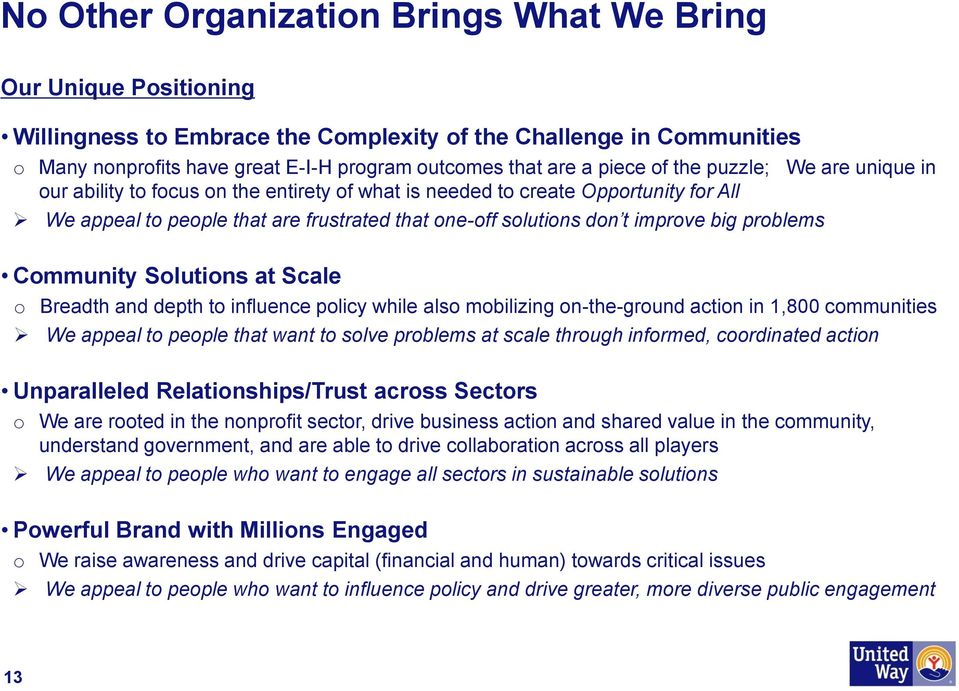 big problems Community Solutions at Scale o Breadth and depth to influence policy while also mobilizing on-the-ground action in 1,800 communities We appeal to people that want to solve problems at