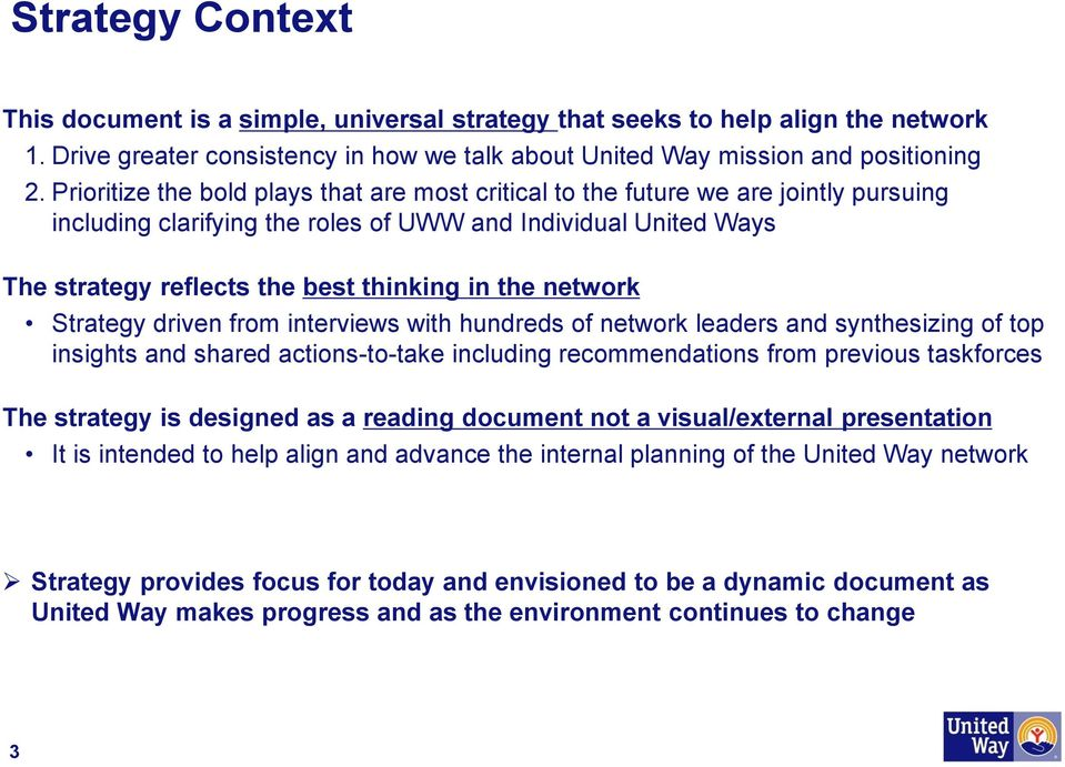network Strategy driven from interviews with hundreds of network leaders and synthesizing of top insights and shared actions-to-take including recommendations from previous taskforces The strategy is