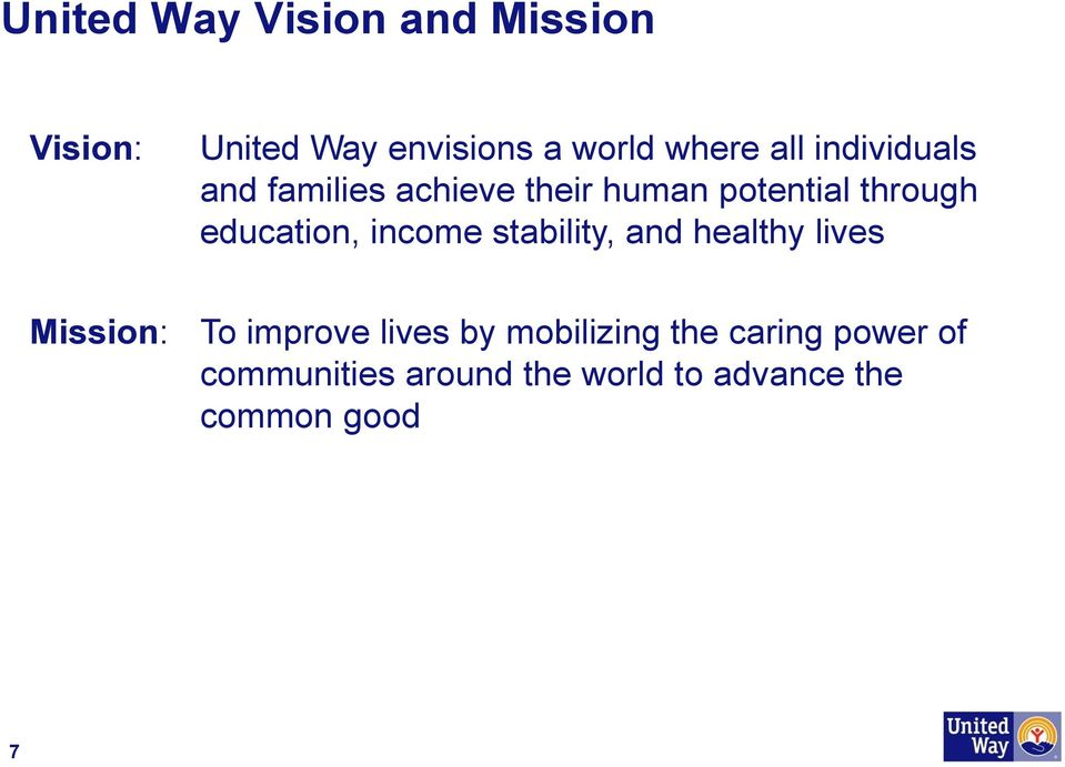 education, income stability, and healthy lives Mission: To improve lives by