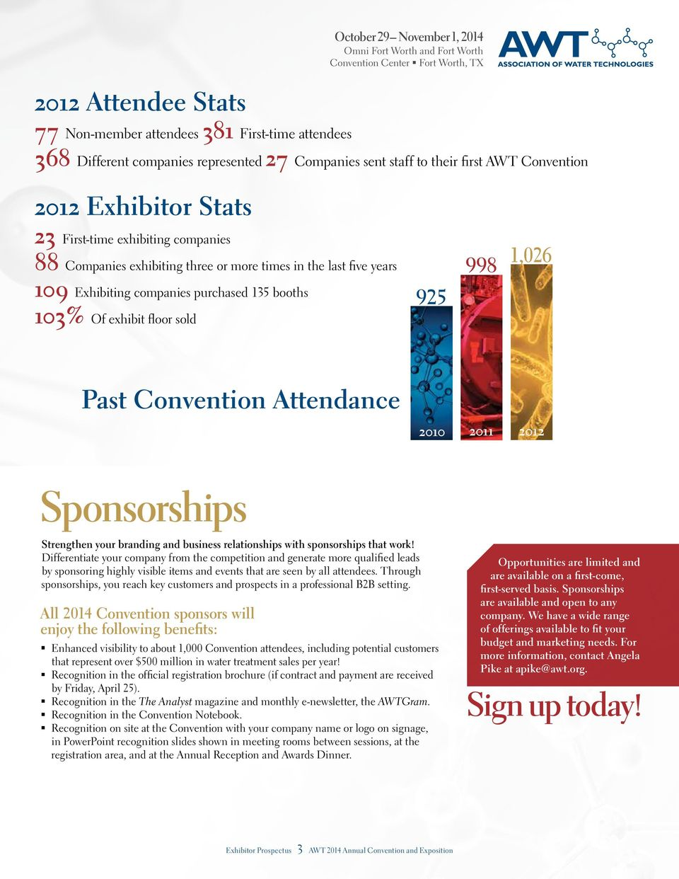 1,026 Past Convention Attendance 2010 2011 2012 Sponsorships Strengthen your branding and business relationships with sponsorships that work!