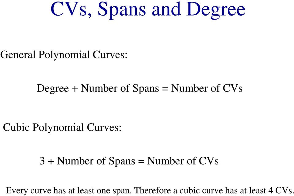 3 + Number of Spans = Number of CVs Every curve has at