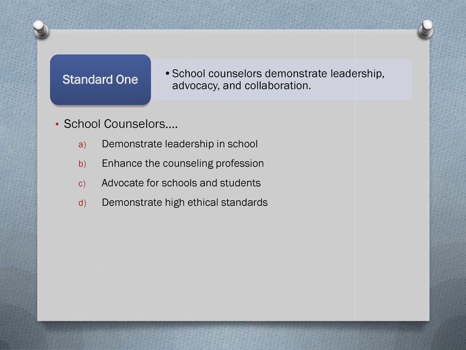a) Demonstrate leadership in school b) Enhance the counseling