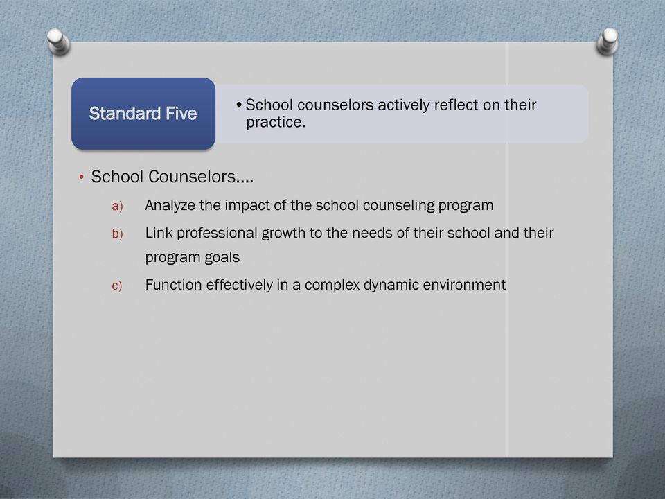a) Analyze the impact of the school counseling program b) Link
