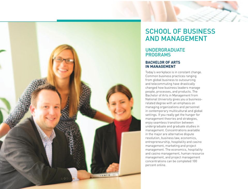 The Bachelor of Arts in Management from National University gives you a businessrelated degree with an emphasis on managing organizations and personnel in contemporary multicultural and global