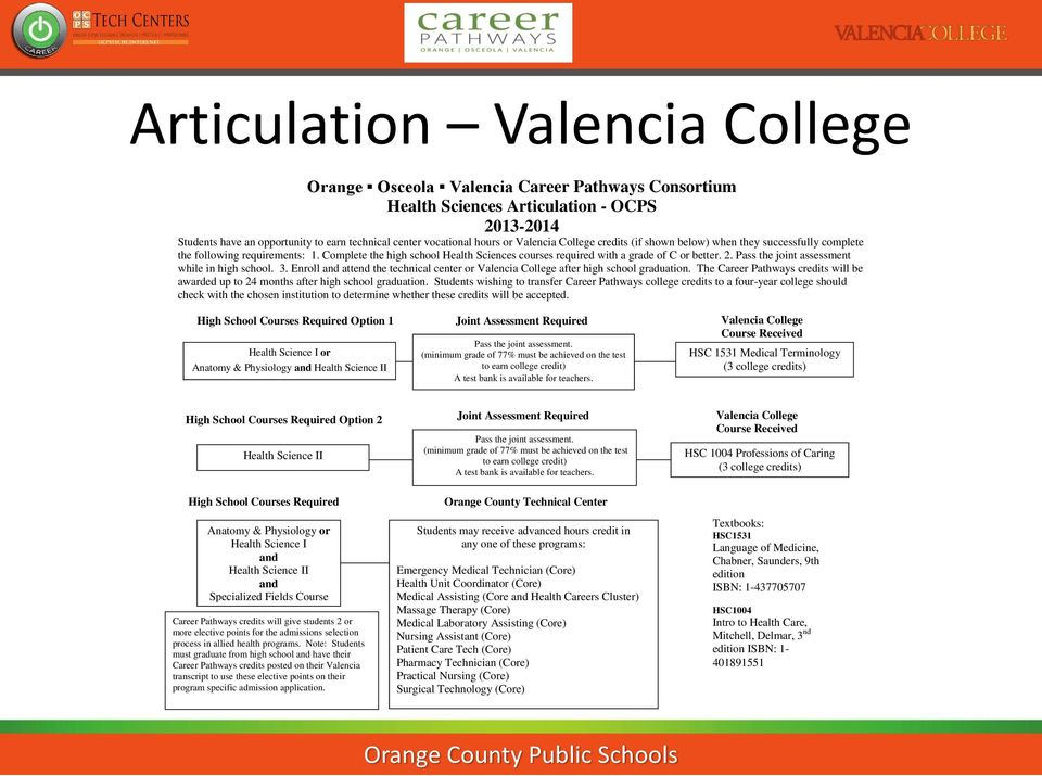 Pass the joint assessment while in high school. 3. Enroll and attend the technical center or Valencia College after high school graduation.