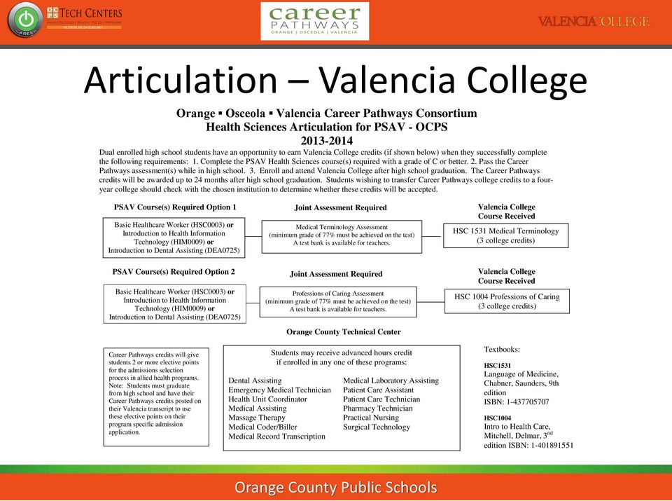 Pass the Career Pathways assessment(s) while in high school. 3. Enroll and attend Valencia College after high school graduation.