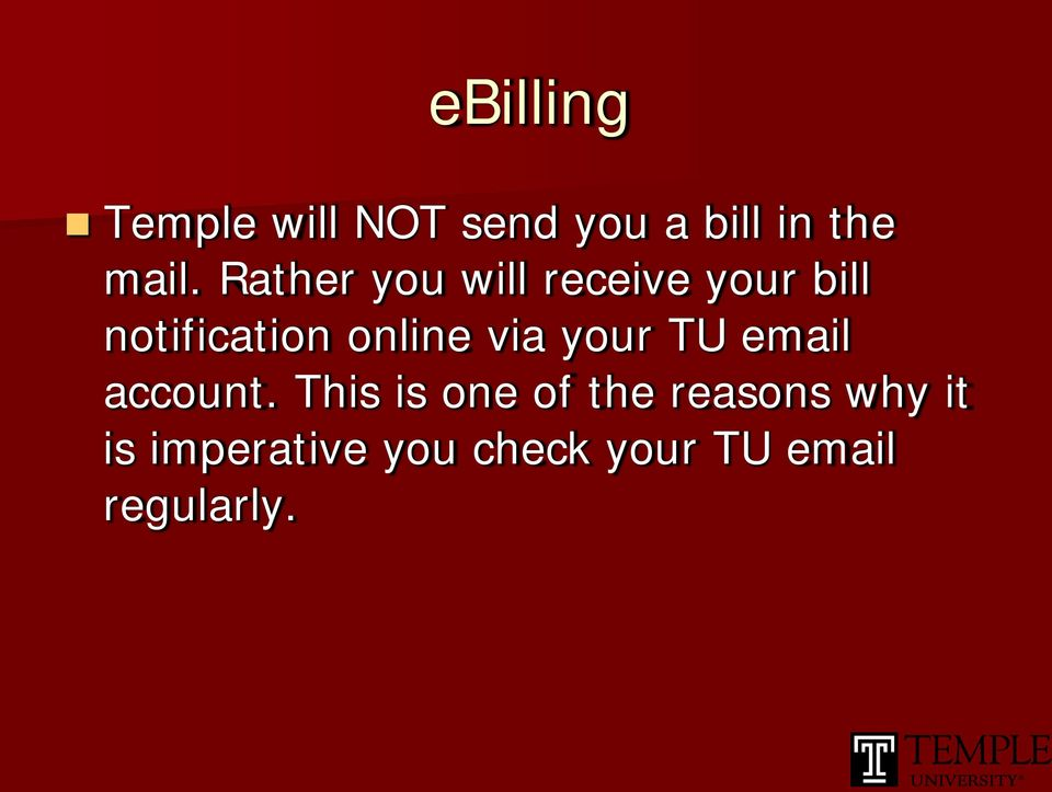 via your TU email account.