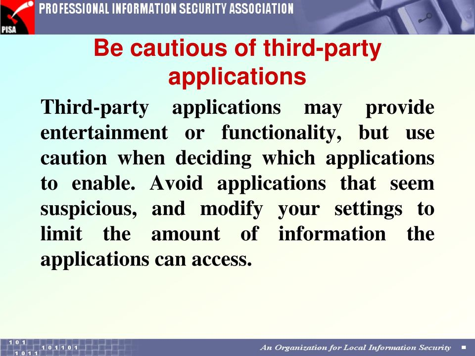 which applications to enable.