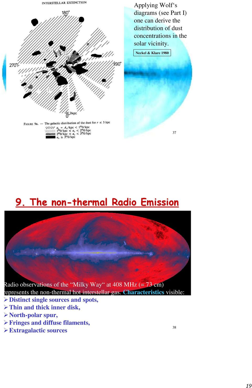 The non-thermal Radio Emission Radio observations of the Milky Way at 408 MHz (= 73 cm) represents the