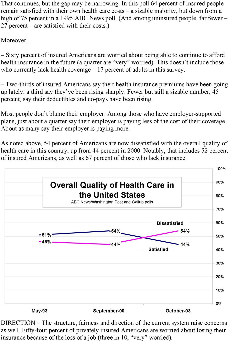 (And among uninsured people, far fewer 27 percent are satisfied with their costs.