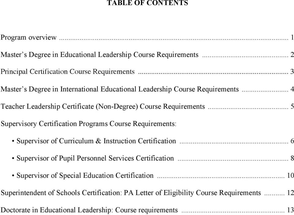 .. 5 Supervisory Certification Programs Course Requirements: Supervisor of Curriculum & Instruction Certification... 6 Supervisor of Pupil Personnel Services Certification.