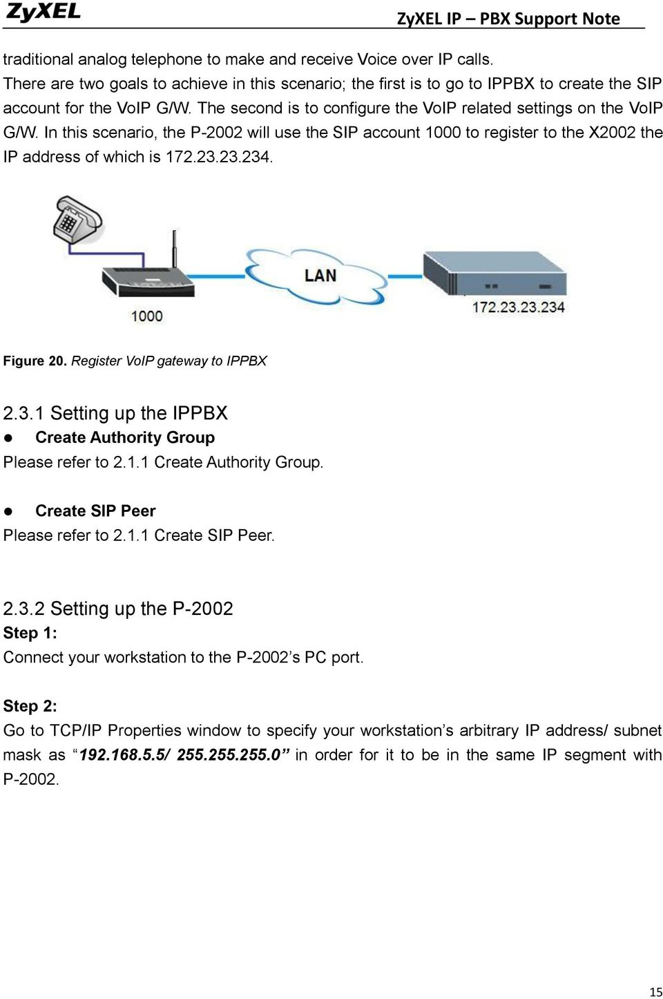 Figure 20. Register VoIP gateway to IPPBX 2.3.1 Setting up the IPPBX Create Authority Group Please refer to 2.1.1 Create Authority Group. Create SIP Peer Please refer to 2.1.1 Create SIP Peer. 2.3.2 Setting up the P-2002 Step 1: Connect your workstation to the P-2002 s PC port.