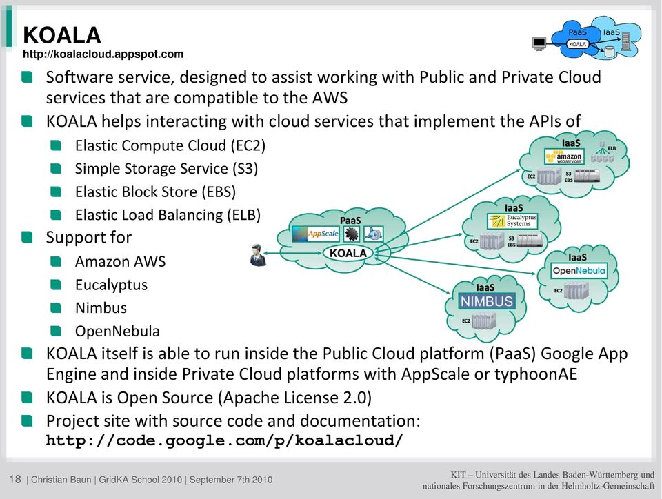 the APIs of Elastic Compute Cloud (EC2) Simple Storage Service (S3) Elastic Block Store (EBS) Elastic Load Balancing (ELB) Support for Amazon AWS Eucalyptus Nimbus OpenNebula