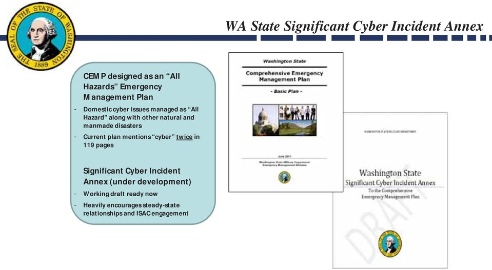 disasters - Current plan mentions cyber twice in 119 pages Significant Cyber Incident Annex
