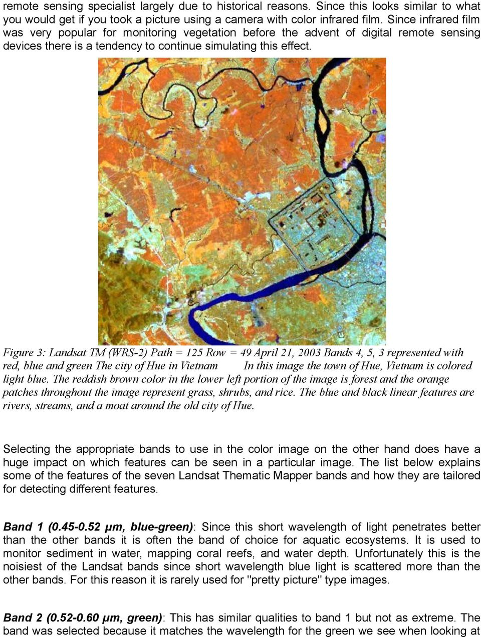 Figure 3: Landsat TM (WRS-2) Path = 125 Row = 49 April 21, 2003 Bands 4, 5, 3 represented with red, blue and green The city of Hue in Vietnam In this image the town of Hue, Vietnam is colored light