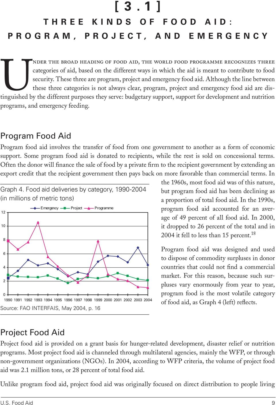 Although the line between these three categories is not always clear, program, project and emergency food aid are distinguished by the different purposes they serve: budgetary support, support for
