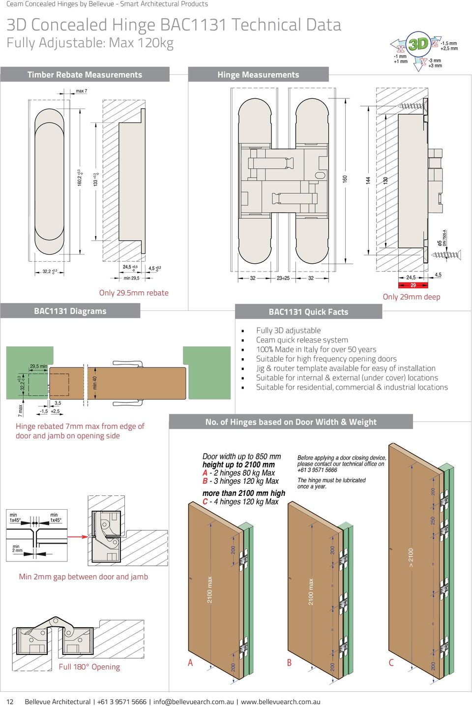 5mm rebate 21 max 21 max in 2 1131 Diagrams Hinge rebated 7mm max from edge of door and jamb on opening side No.