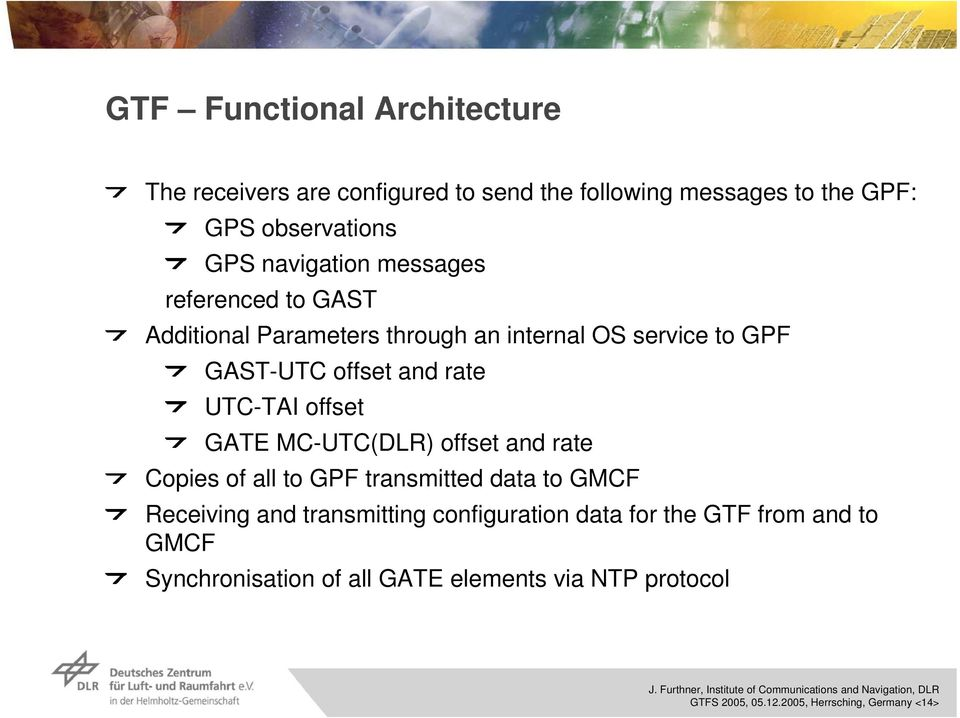 MC-UTC() offset rate Copies of all to GPF transmitted data to GMCF Receiving transmitting configuration data for the GTF from to