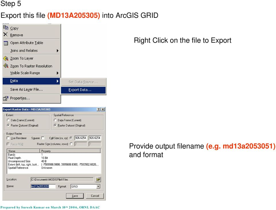 Right Click on the file to Export