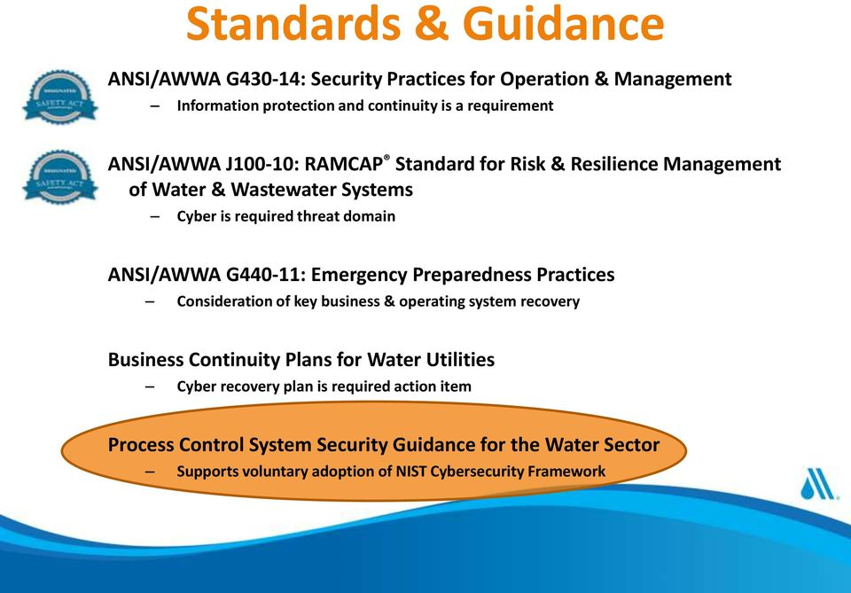 G440-11: Emergency Preparedness Practices Consideration of key business & operating system recovery Business Continuity Plans for Water Utilities