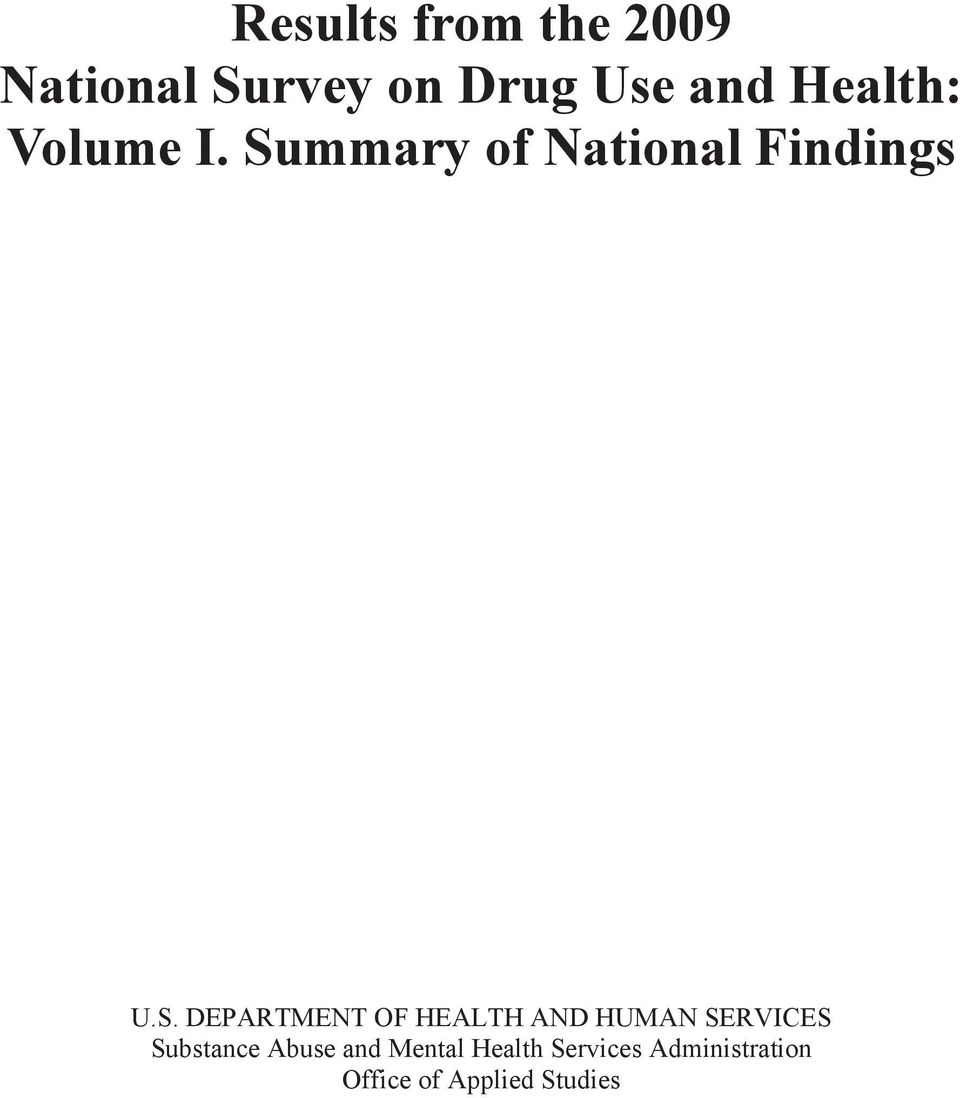 mmary of National Findings U.S.
