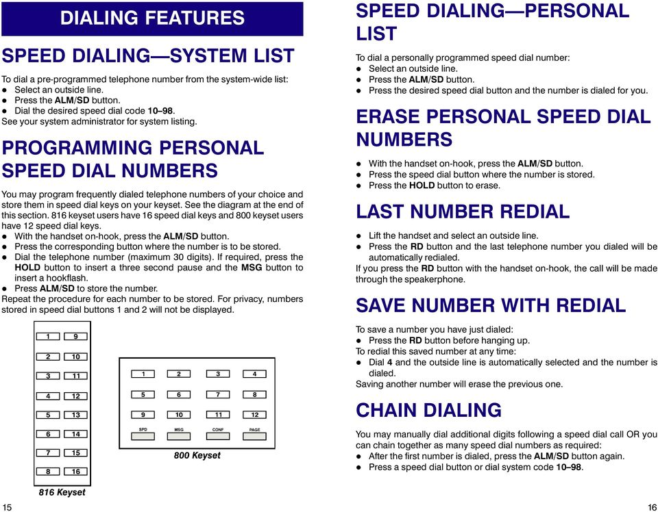 PROGRAMMING PERSONAL SPEED DIAL NUMBERS You may program frequently dialed telephone numbers of your choice and store them in speed dial keys on your keyset. See the diagram at the end of this section.