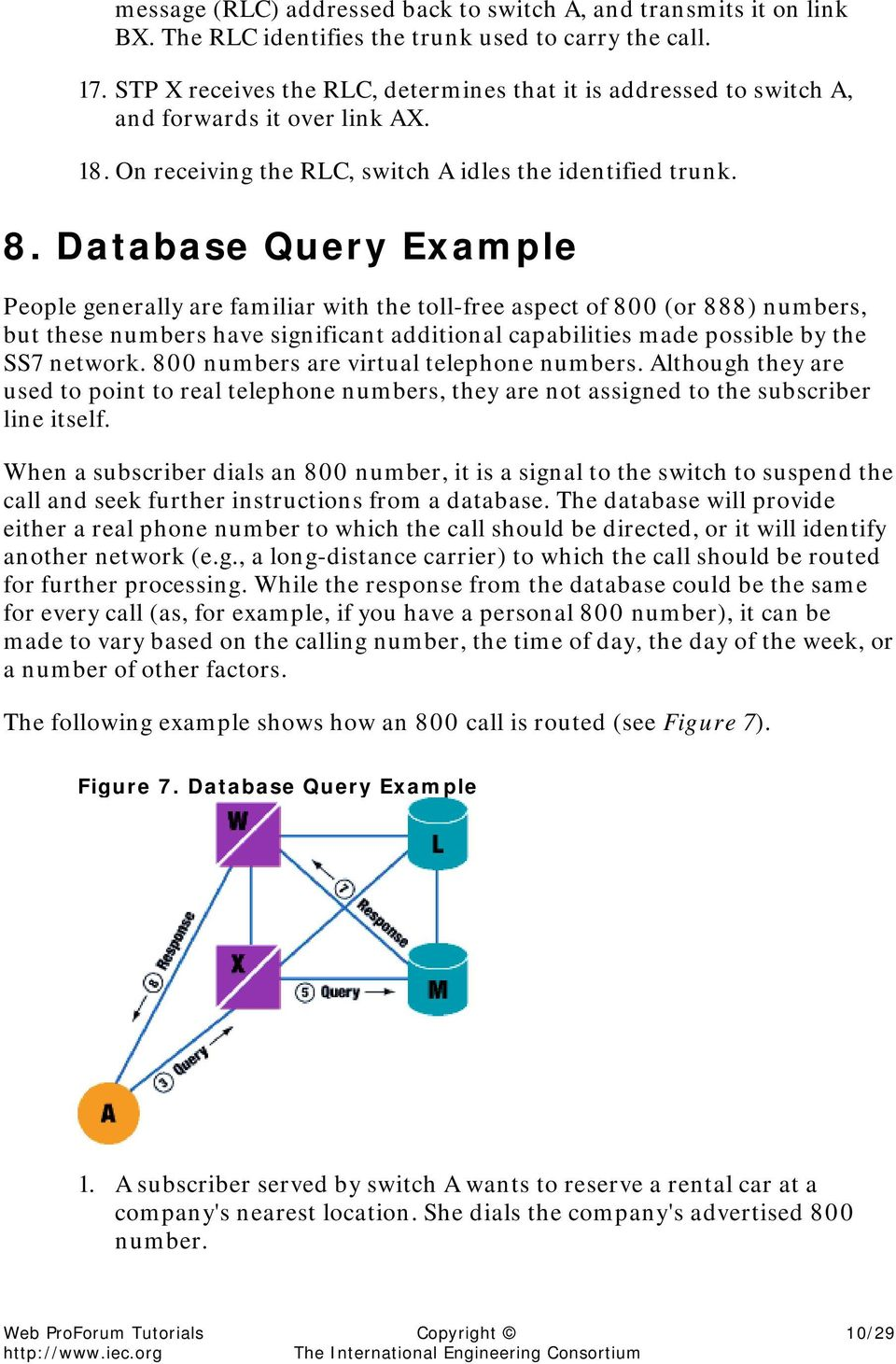 Database Query Example People generally are familiar with the toll-free aspect of 800 (or 888) numbers, but these numbers have significant additional capabilities made possible by the SS7 network.