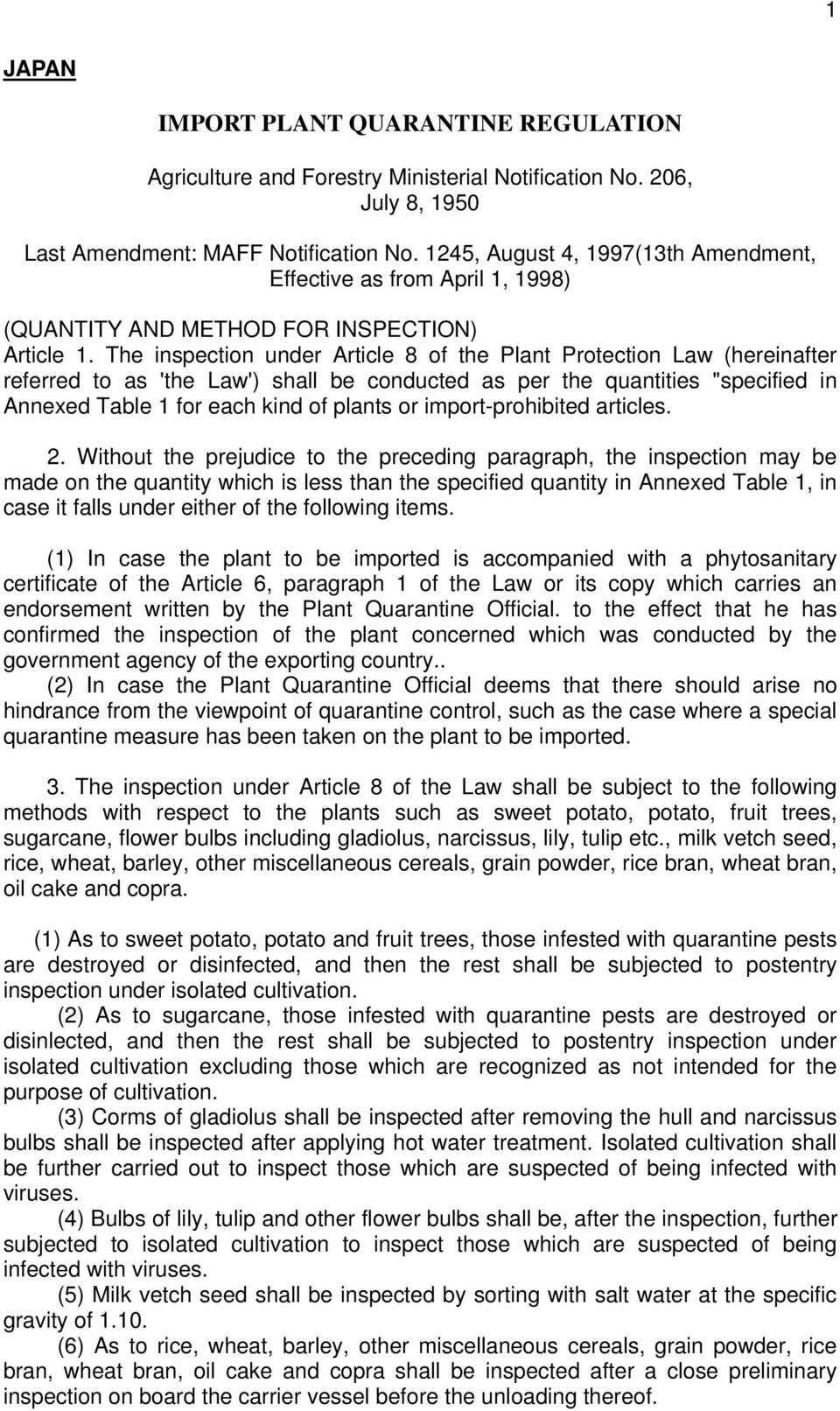 "The inspection under Article 8 of the Plant Protection Law (hereinafter referred to as 'the Law') shall be conducted as per the quantities ""specified in Annexed Table 1 for each kind of plants or"