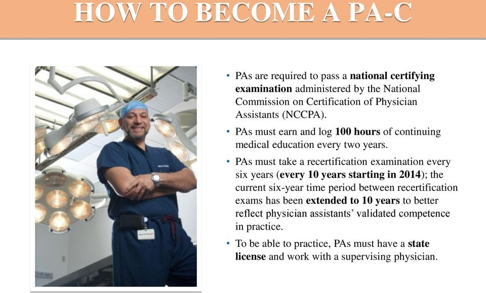 PAs must take a recertification examination every six years (every 10 years starting in 2014); the current six-year time period between
