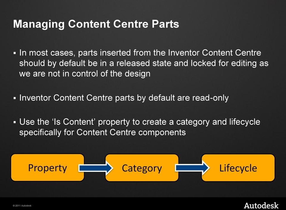 design Inventor Content Centre parts by default are read-only Use the Is Content property to