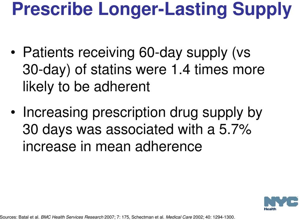 4 times more likely to be adherent Increasing prescription drug supply by 30 days was