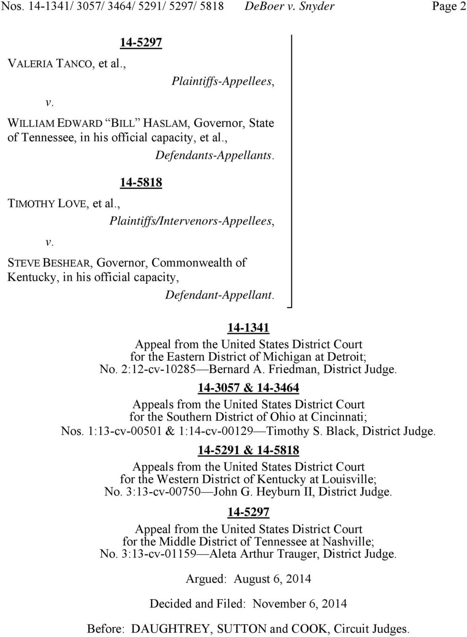 , Plaintiffs/Intervenors-Appellees, v. STEVE BESHEAR, Governor, Commonwealth of Kentucky, in his official capacity, Defendant-Appellant.
