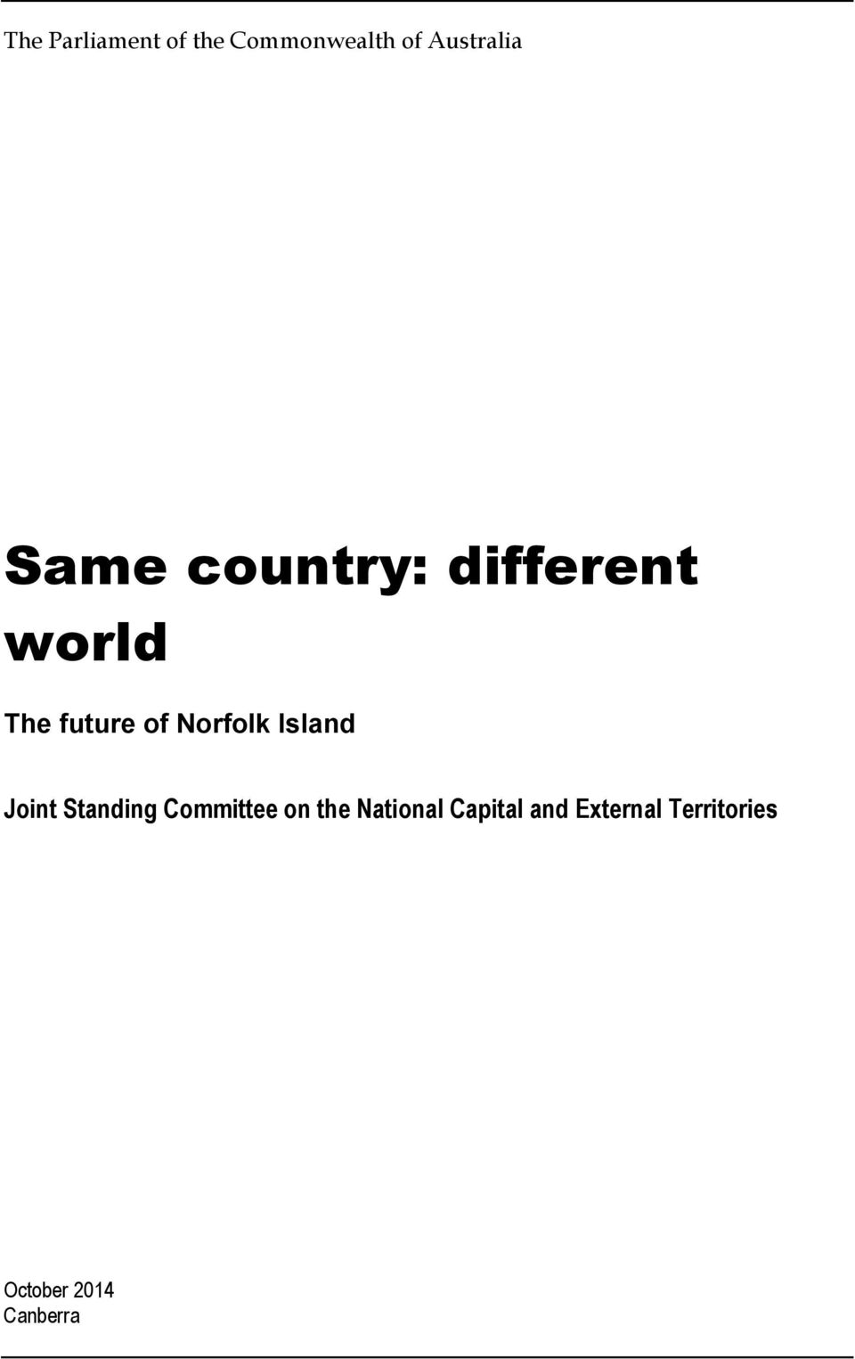 Norfolk Island Joint Standing Committee on the