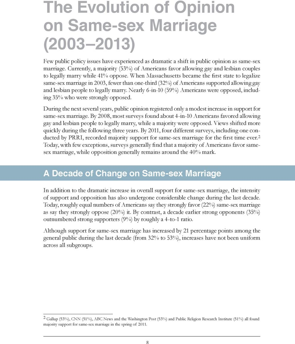 When Massachusetts became the first state to legalize same-sex marriage in 2003, fewer than one-third (32%) of Americans supported allowing gay and lesbian people to legally marry.