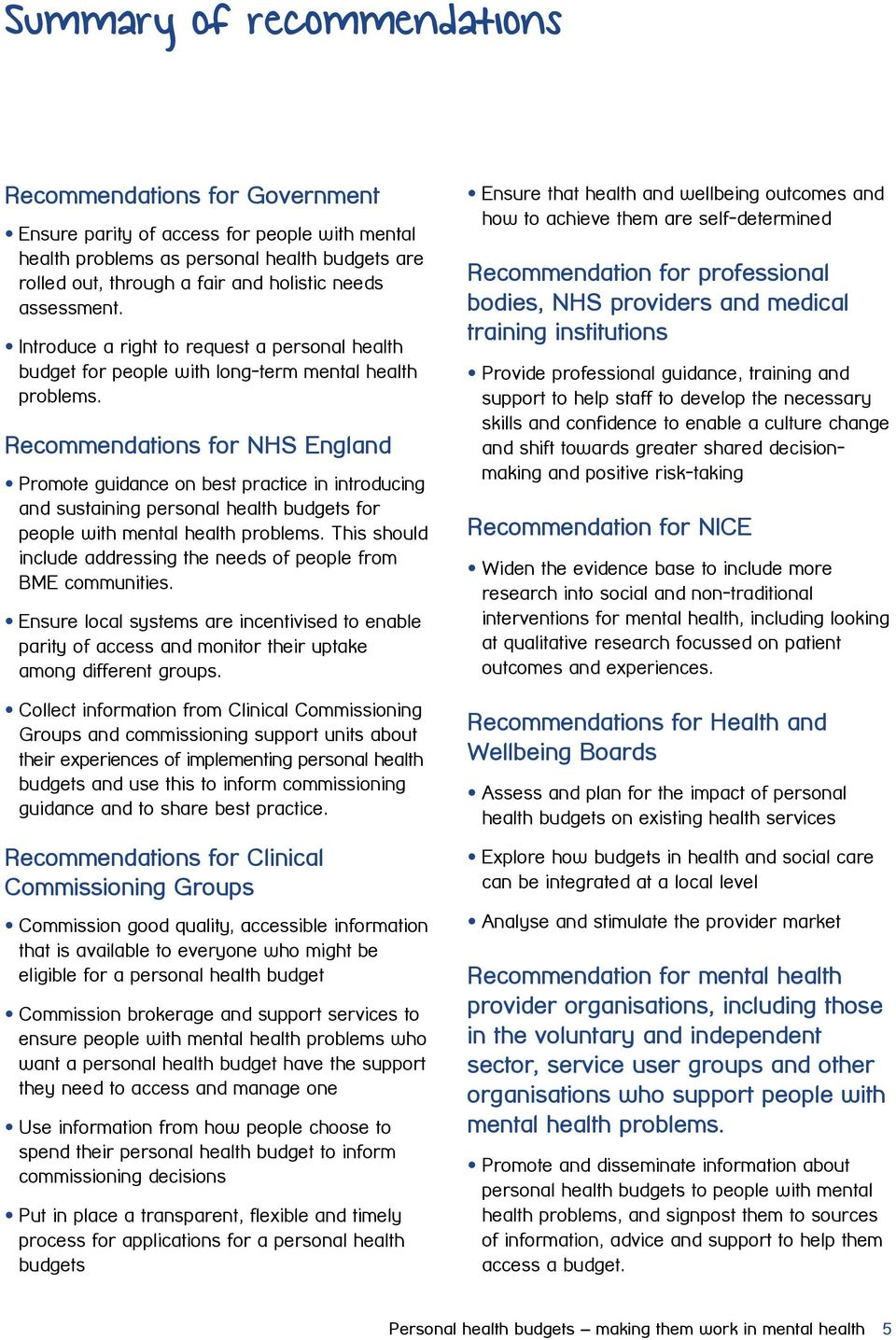 Recommendations for NHS England Promote guidance on best practice in introducing and sustaining personal health budgets for people with mental health problems.