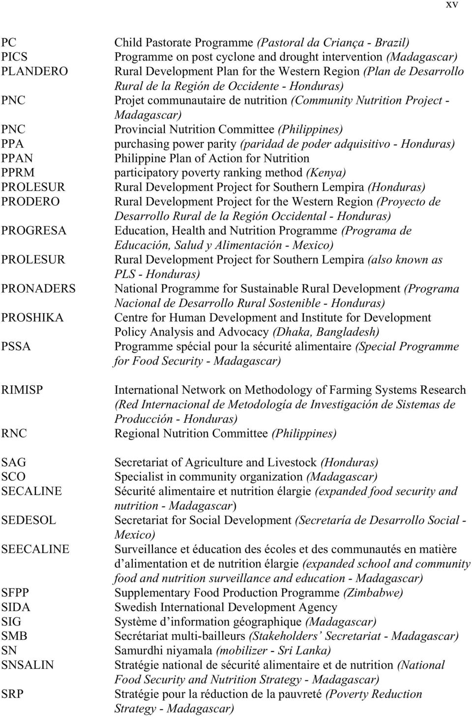 power parity (paridad de poder adquisitivo - Honduras) PPAN Philippine Plan of Action for Nutrition PPRM participatory poverty ranking method (Kenya) PROLESUR Rural Development Project for Southern